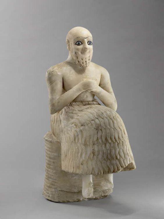 Ebih-Il DA, 2400 BC Mari, temple d'Ishtar Gypse, lapis, coquille 52,5 x 20,6 x 30 cm Musée du Louvre