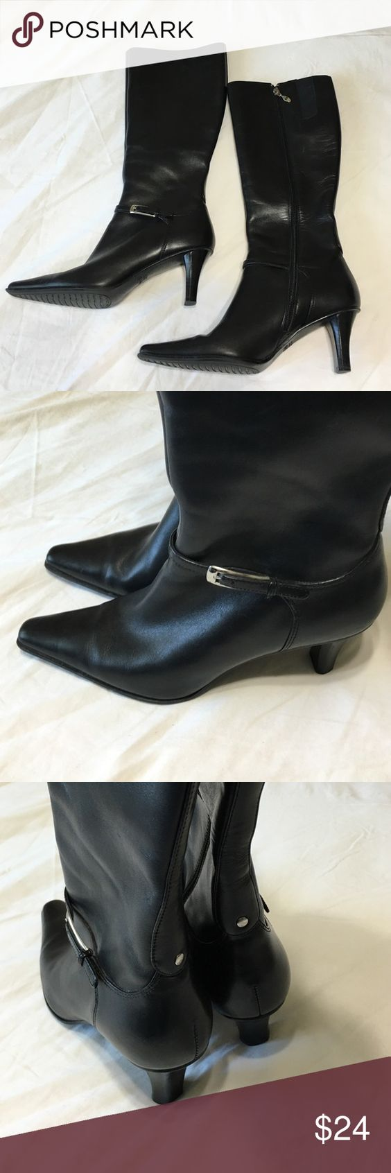 "Circa Joan & David 365 Boots Comfy Leather Mid-calf inside zip, low adjustable silver buckle across front, 3"" covered heel, 14"" in back/high above heel, pointed toe boots. In good condition!! Joan & David Shoes Heeled Boots"