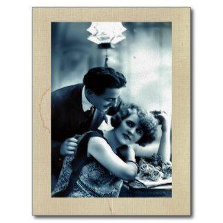 Cartão do casal do vintage cartão postal