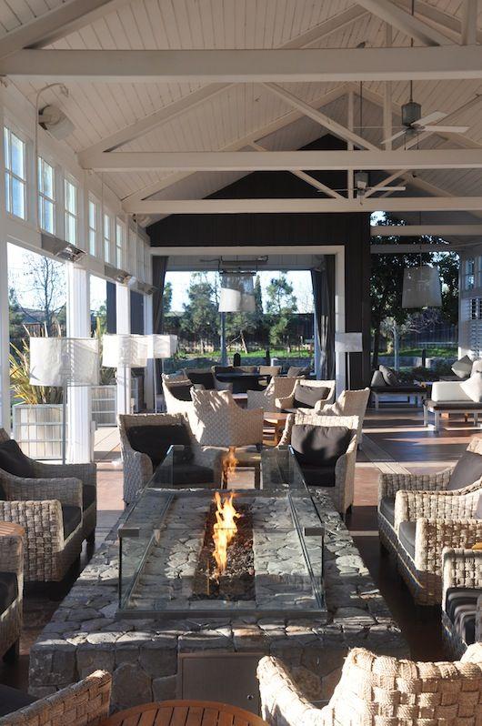 outdoor pallet of stone, glass, raffia and slate grey  Getaway: The Carneros Inn // Sacramento Street