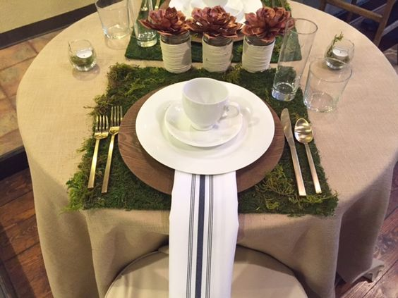 Moss Place Mat - Spring Table Scape