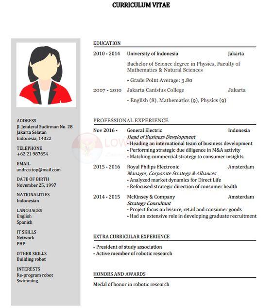 Contoh Cv Daftar Riwayat Hidup Pdf Doc Layout I Ilmu Pengetahuan Alam Riwayat Hidup Surat