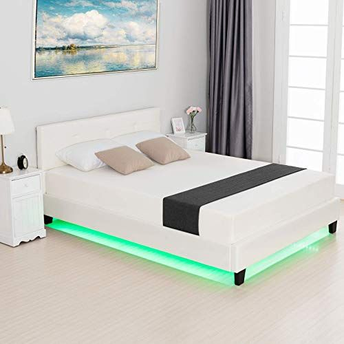 The Lagrima Queen Size Led Bed Modern Upholstered Faux Leather Bed