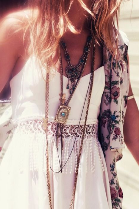 Long, layered necklaces.