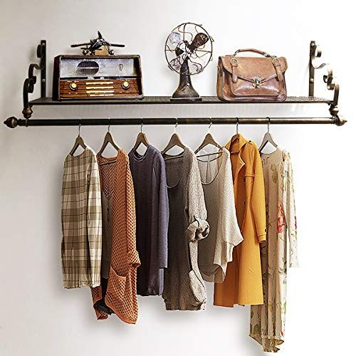 Nicheo Storage Wrought Iron Coat Rack Shelf Wall Mounted Hanging Closet With Clothing Rods Garment Hanger For Daily Coat Rack Shelf Cool Shelves Wall Shelves