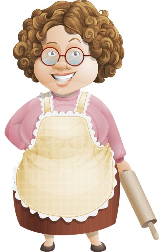 Granny Five-Course Meal: a lovely old lady cartoon character with neat curls and a sugar sweet smile. #cook #cartoon #character #vector #housewife: