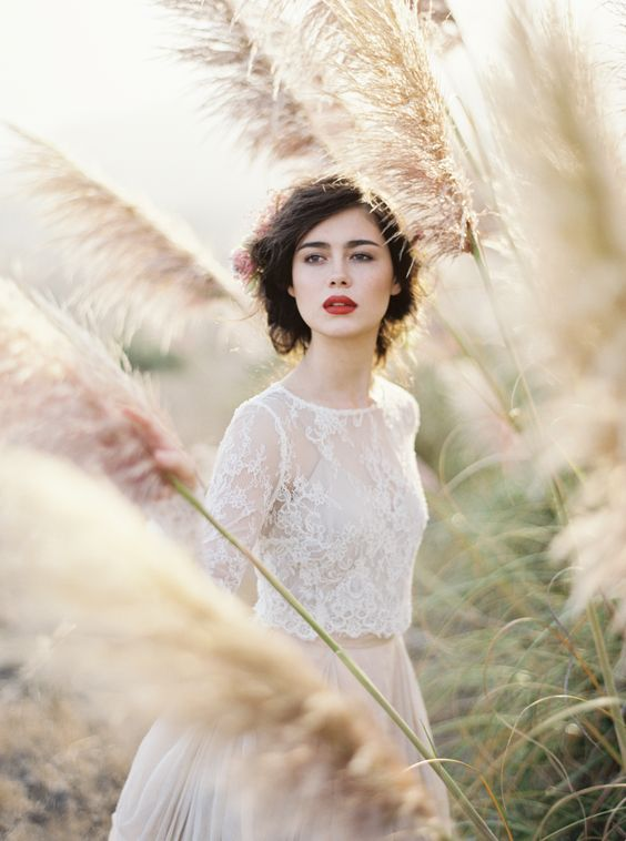 this modern romance,fine art film wedding,red lips,blush wedding dress,taupe wedding,lace sleeves wedding dress