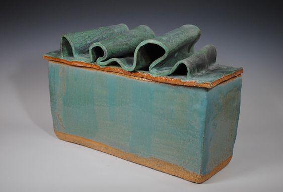 Turquoise Lidded Ceramic Box, Lidded Jar, Aqua and Brown stoneware Pottery, Surf, Waves, Slabs