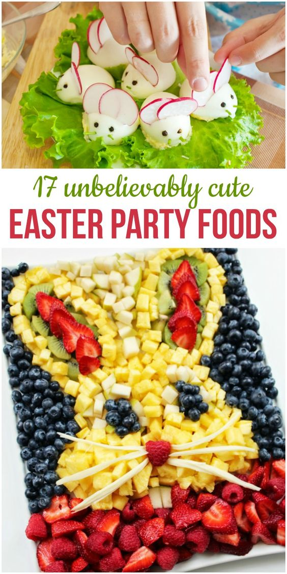 Like many holidays, part of the fun is in the food. With Easter though, you can have a lot more fun planning and making brunch or party foods. I personally love the fruit Pizza idea. You should check it out, so easy!!: