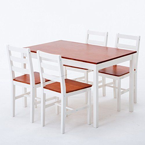 Cypressshop Dining Table Set Pine Wood Chairs Table Smooth