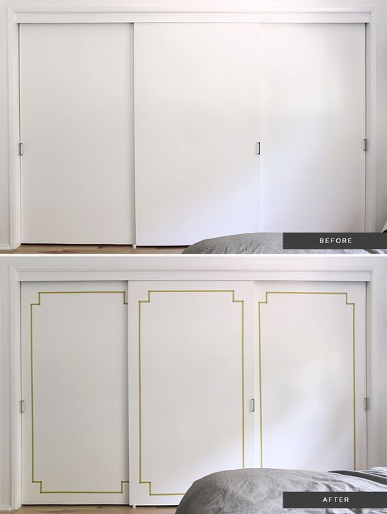 diy washi taped decorative doors | Bedroom closet doors, Cabinets ...