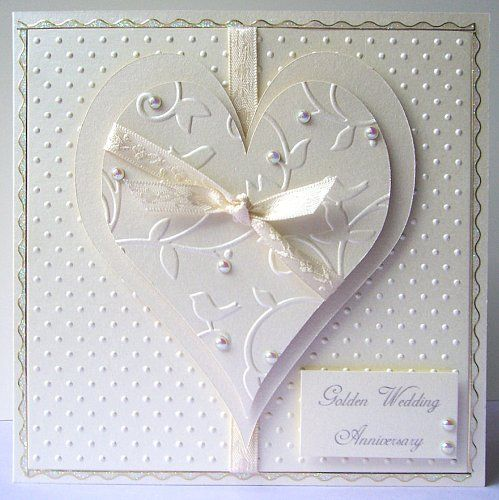 wedding or anniversary card beautiful with paper embossed before using a die cut