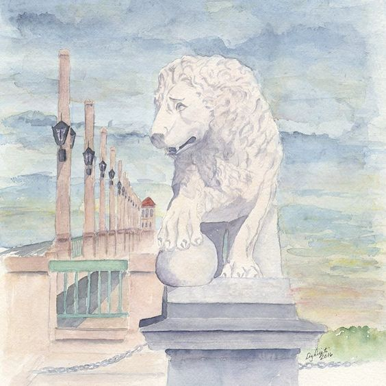 I've wanted to paint this for a long time and finally did. The Bridge of Lions St. Augustine. by watercolorsbyliz