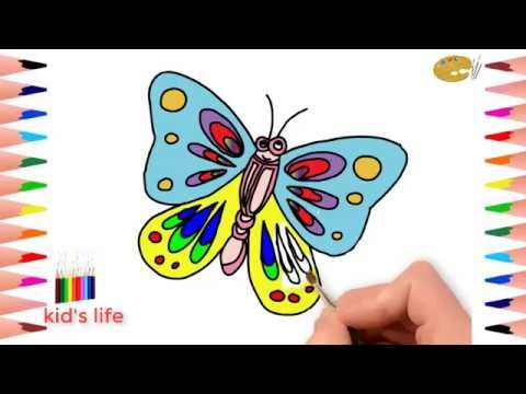 How To Draw Butterfly Coloring Pages Art Colours For Kids Butterfly Coloring Page Butterfly Drawing Coloring For Kids