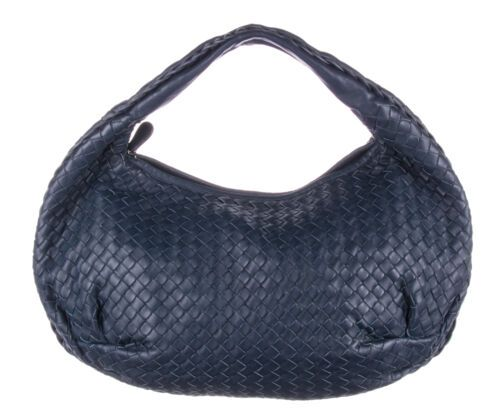 Bottega Veneta Navy Intrecciato Nappa Leatgher Belly Medium Hobo Bag Purple Bags Bags Black Purses