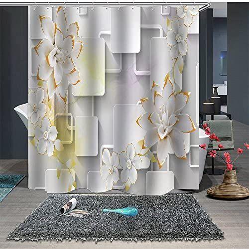 Beddinginn White Flower Summer Shower Curtain Set With 12 Hooks Modern Flower Fabric Bath Curt In 2020 Flower Shower Curtain Floral Shower Curtains Bathroom Decor Sets