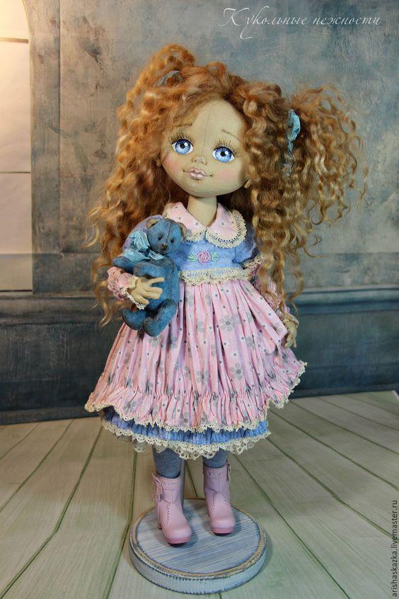 Купить Ева . Кукла авторская .Кукла текстильная . - бежевый, белый, девочка, девочка с мишкой: