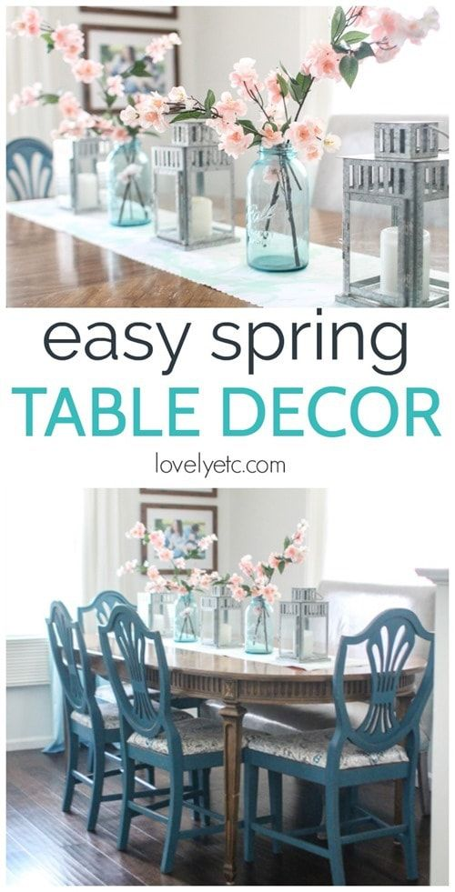 Easy Spring Table Decor On The Cheap Spring Table Decor Dining Room Table Decor Table Centerpieces For Home