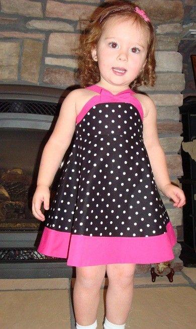 Polka dot with Hot Pink Bib Dress by NativeBabydoll on Etsy, $25.00