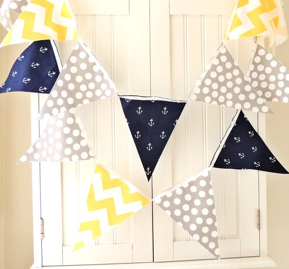 Blue yellow polka dots and nautical on pinterest for Nautical nursery fabric