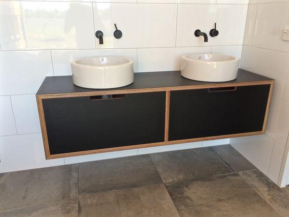 black laminate vanity on birch plywood custom made in nz bathroom