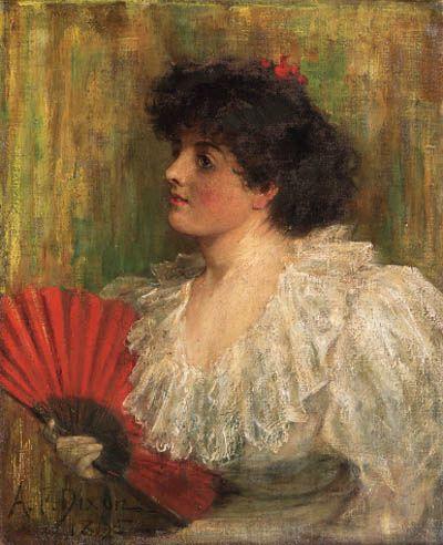 The red fan, 1895 ~ Arthur Percy Dixon (1884-1917)  Christie's