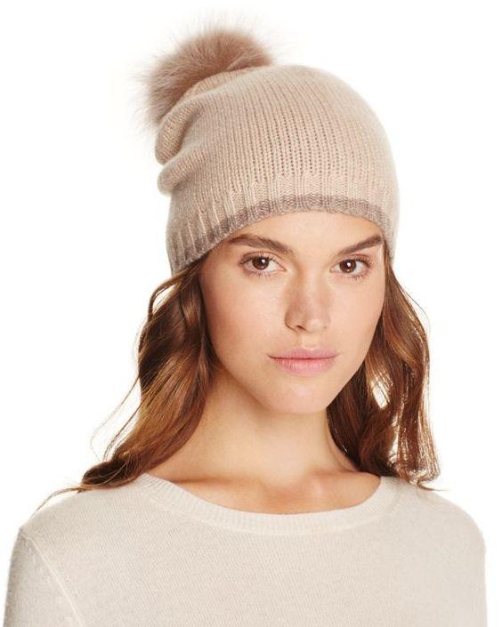 Magaschoni Color-Block Fur Pompom Cashmere Hat