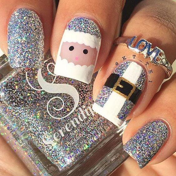 Silver Santa nail art design