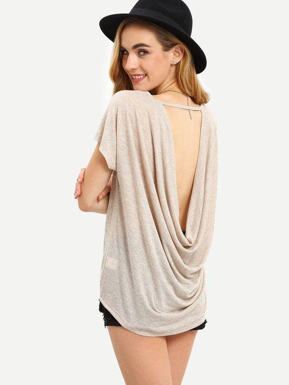Dark Apricot Short Sleeve Draped V Back T-shirt