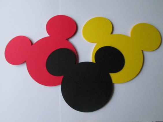 """Mickey Mouse Heads 5"""" From Ear to Ear / Set of 30 / Ten Of Each Color / Great for DIY Banners / Birthday Party"""