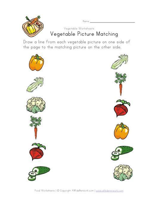 Simple Vegetable Matching Worksheet Kindergarten Worksheets, Kindergarten  Addition Worksheets, Kindergarten Worksheets Printable