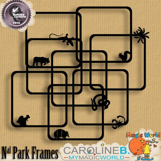 National Park Frames 1 (Downloadable Digital Item) $1.99 | To match with my National Park kits and bundle, here are 8 animal frames. You could use them as is, and apply a pattern or use them as mask.
