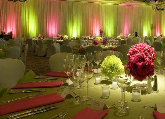 reception with pink and green centerpieces and uplighting. Black Bedroom Furniture Sets. Home Design Ideas
