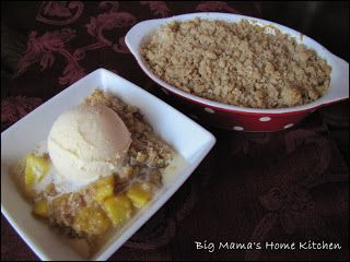 Big Mama's Home Kitchen: Peach Crisp - It's in the oven now.