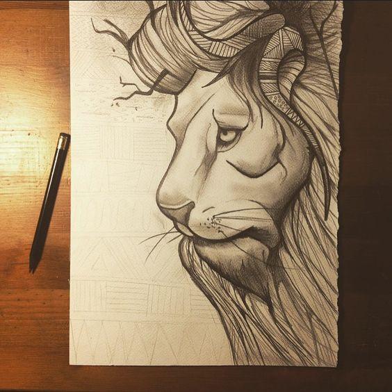 #lion #illustration #tribal #nature #animal #art #pencil #drawing #leone…