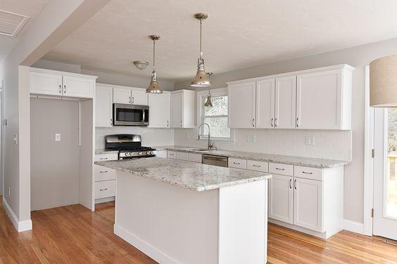 For Sale Hanover, MA 419,900 Paint: Ben Moore BM Collingwood Hardwood Floors Split Level, Raised Ranch, Stainless White Kitchen Granite Countertops http://www.kristendaileyre.com/listings/618-center-st-hanover/