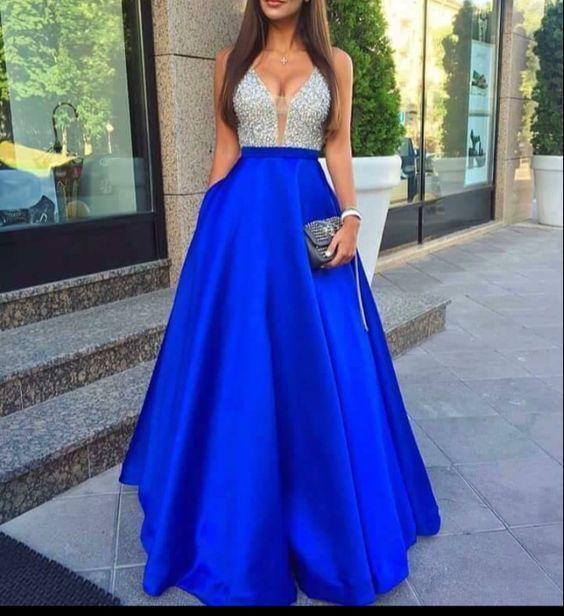 11 Vestidos azul rey largos para gorditas