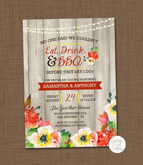 I do BBQ invitation printable BBQ wedding shower by laceyfields