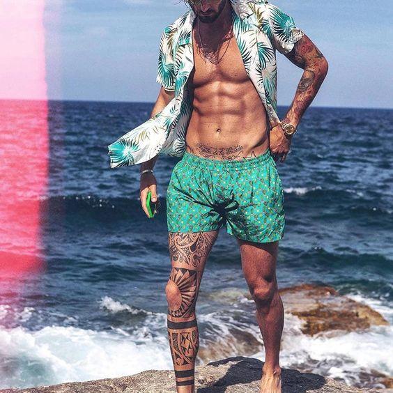 Men Beach Printed Short Sleeves Two-Piece Suits – Uniq-cloth