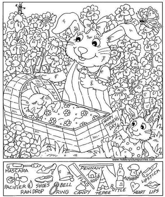 Hidden pictures, Hidden objects and Coloring sheets on Pinterest