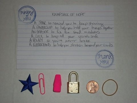 Rubber Wedding Band >> Knapsack of Hope: A STAR to remind you to keep shining. A PAPERCLIP to help you hold your things ...