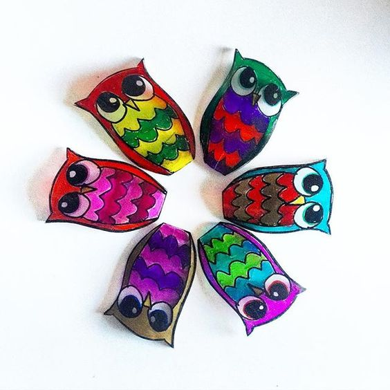 Play time with some #shrinkydinks and #sharpies  #owls #shrinkydink #whatchamccallit #kidscraft