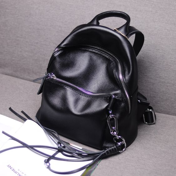76.80$  Watch now - http://alin5u.worldwells.pw/go.php?t=32758342076 - Korean Style Casual New Genuine Leather Black Backpack Fringe Double Shoulder School Travel Book Bag Purse