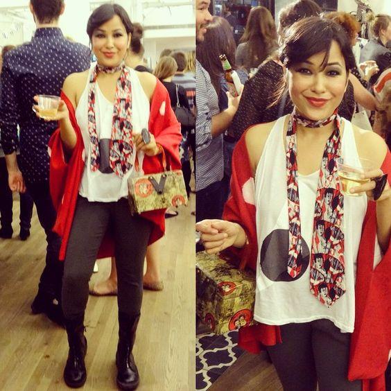 #vintagekimono/ #silk #kimono/#haori in #red with #white #polkadots, #cottonsilk #tanktop by #earth, #vintagesilktie/ #vintagetie w/ #geisha #japaneseprint, #graypants #transit pants & # yohjiyamamoto ( # y3) #blackboots #smile #wine #party