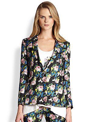MSGM Silk Floral-Print Blazer
