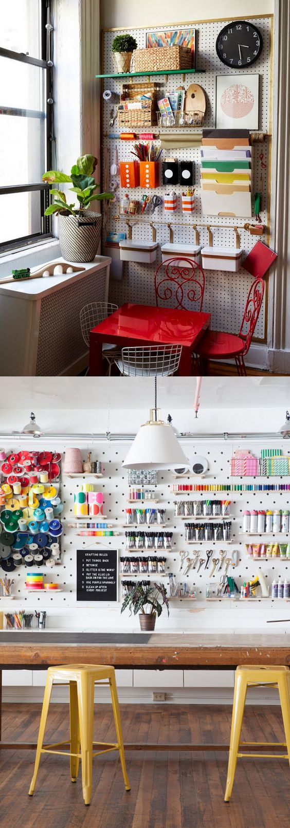 Creative storage inspiration is anything but in short supply with this collection of 21 Ways to Easily Organize your Craft Room or Workshop. Not only will you have a place for all your supplies, it'll look great too!