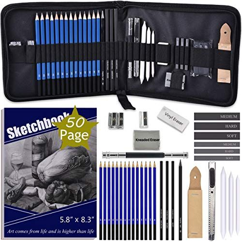 Adaxi Drawing Pencils With Sketch Book 50 Pages 35 Piece Sketch Pencils Professional Drawing Kit In Zipper Case Sketching Art Set With Graphite Charcoal Stick In 2020 Sketch Book Drawing Kits Art Sketches