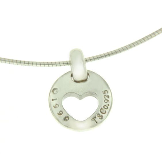▌TIFFANY & CO. 925 Sterling Silver Circle Heart Pendant Necklace » U24…