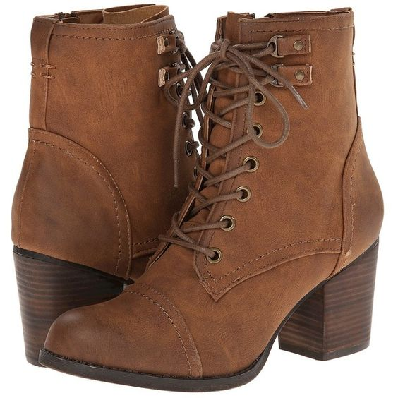 Madden Girl Westmont Women's Lace-up Boots, Tan ($51) ❤ liked on ...