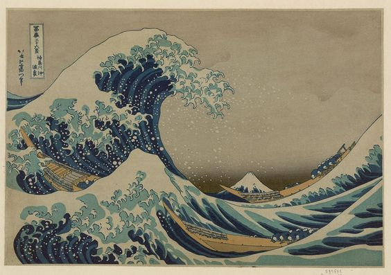 Kanagawa oki nami ura  / The great wave off shore of Kanagawa.  Creator(s): Katsushika, Hokusai, 1760-1849, artist  Date Created/Published: [between 1826 and 1833, printed later]  Medium: 1 print : woodcut, color.  Summary: Print shows a huge wave bearing down on boats with a view of Mount Fuji in the background.  Reproduction Number: LC-DIG-jpd-02018 (digital file from original print) From the series: Fugaku sanjūrokkei : 36 views of Mount Fuji http://www.loc.gov/pictures/item/2008660568/